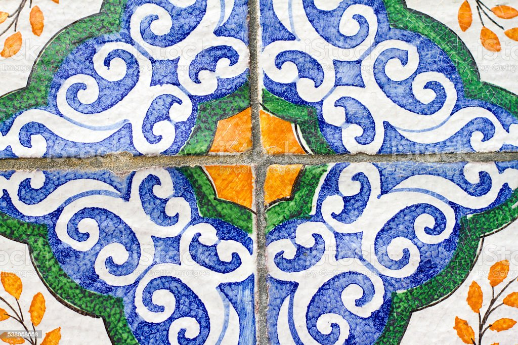 Sicily Style: Antique Floor Tiles in Blue, White, Yellow (Close-Up) stock photo
