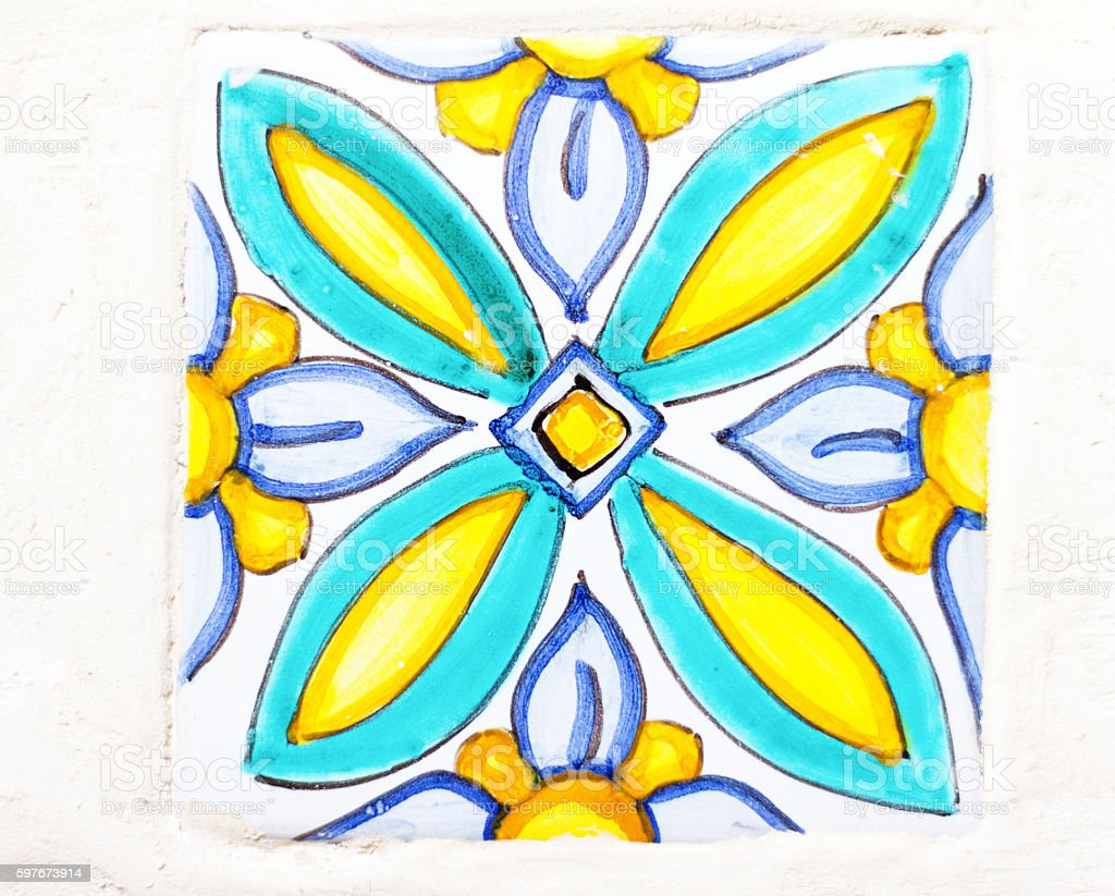 Sicily Style: Traditional Tile in Blue, White, and Green (Close-Up) stock photo