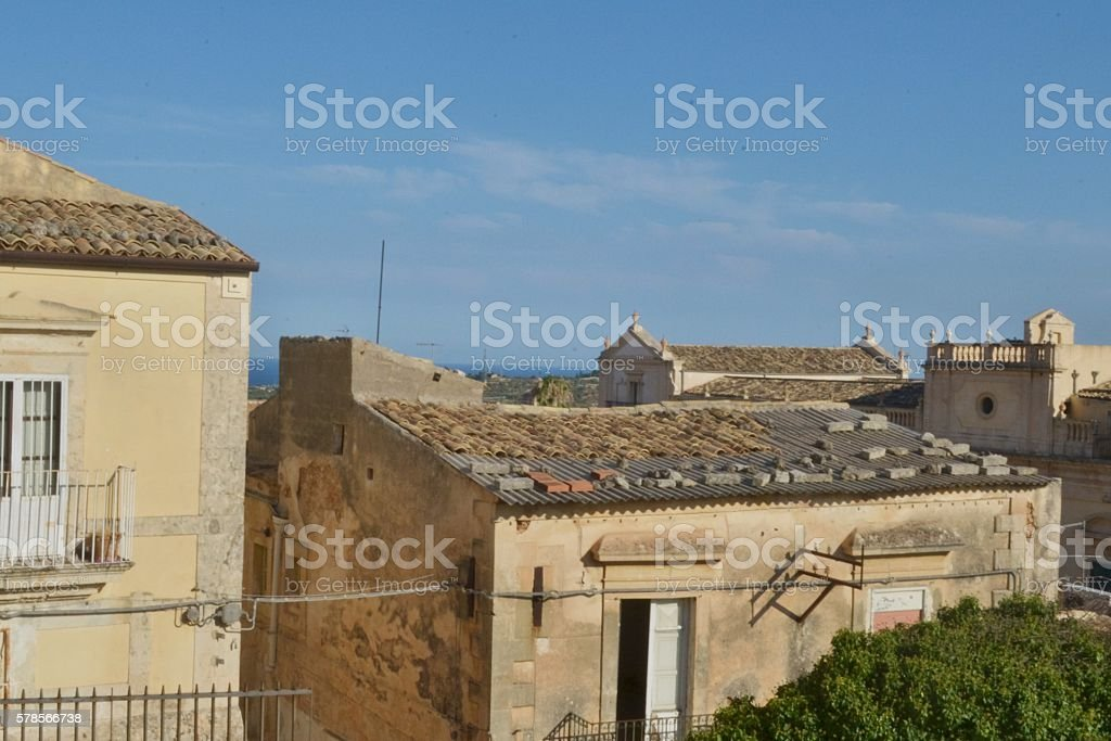 Sicilia, vista sui tetti di Noto stock photo