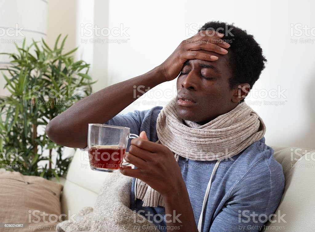 sick black man stock photo
