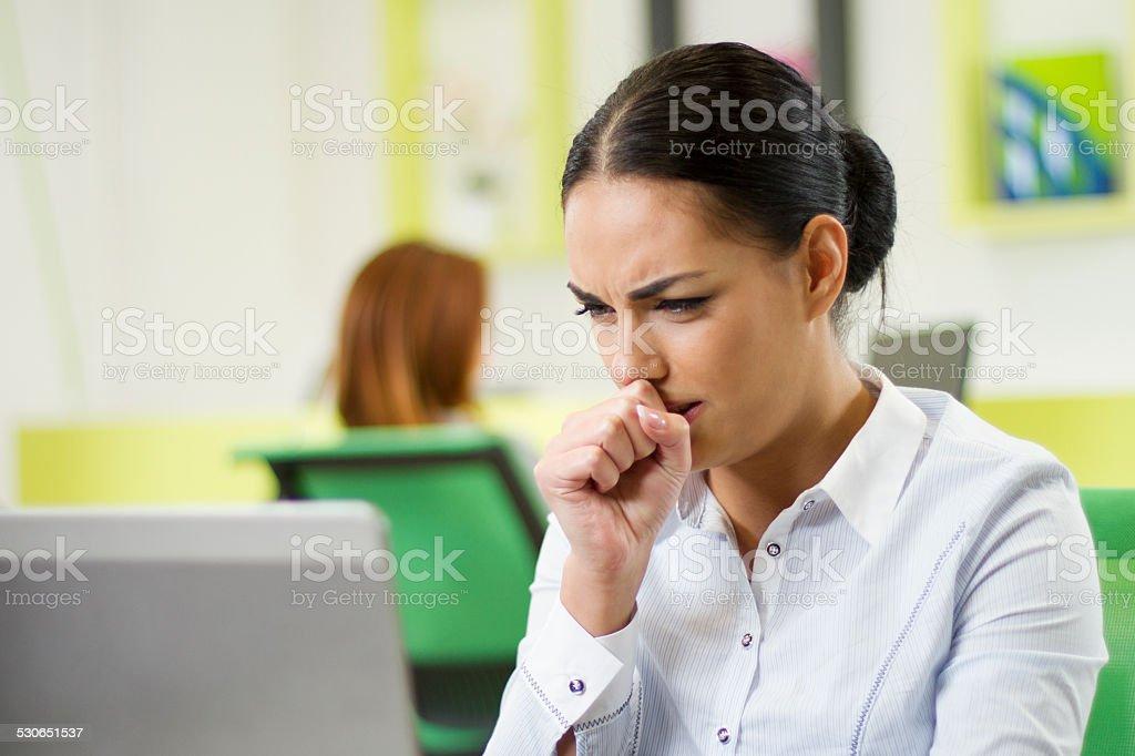 Sick businesswoman stock photo