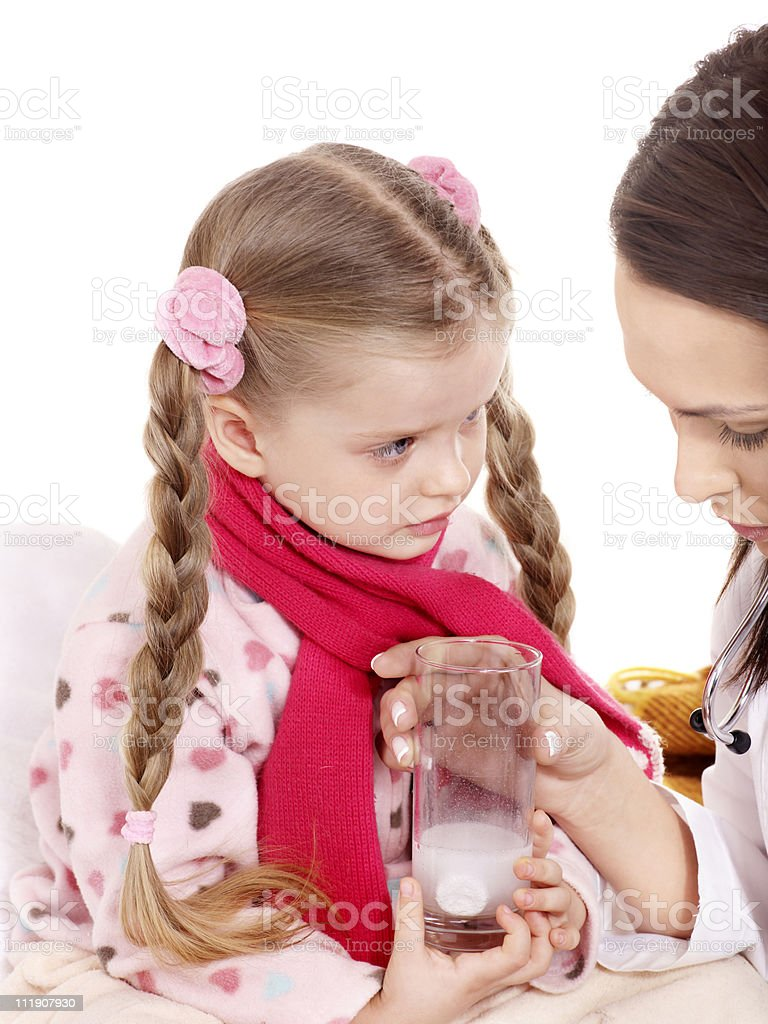 Sick child take medicine. royalty-free stock photo
