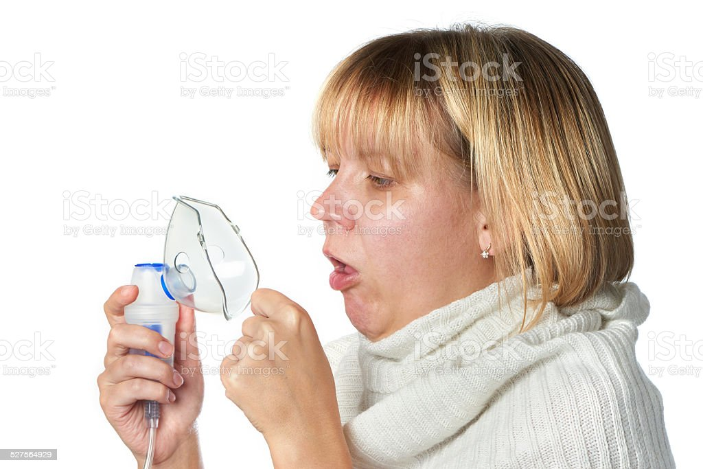 Sick cough woman holding inhaler isolated stock photo