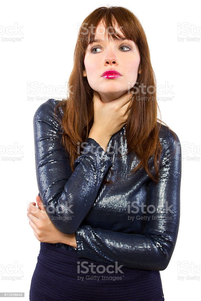 Sick Female Entertainer in Shiny Dress Unable to Sing stock photo
