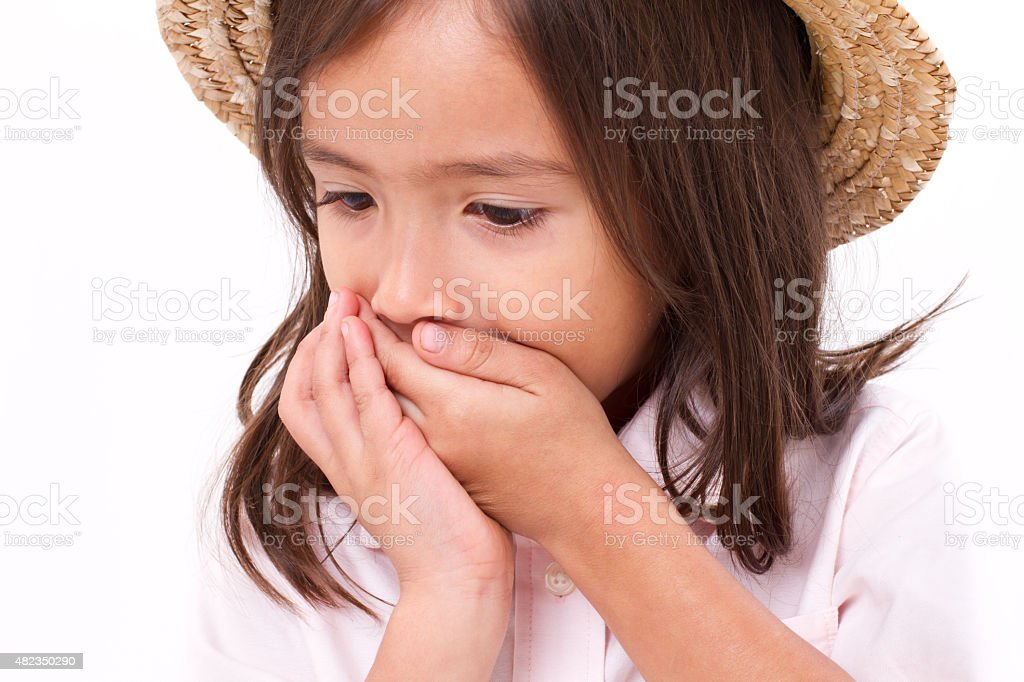 sick girl with nausea or indigestion symptom stock photo