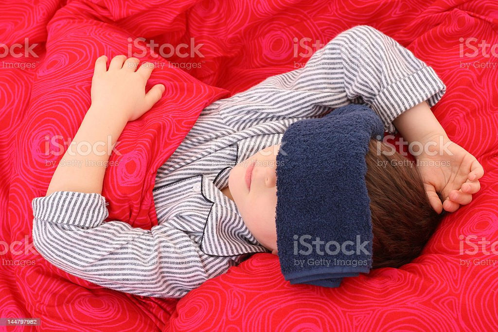 sick kid stock photo
