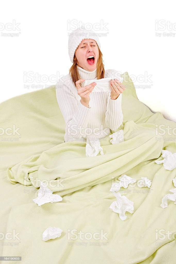 Sick person about to sneeze royalty-free stock photo