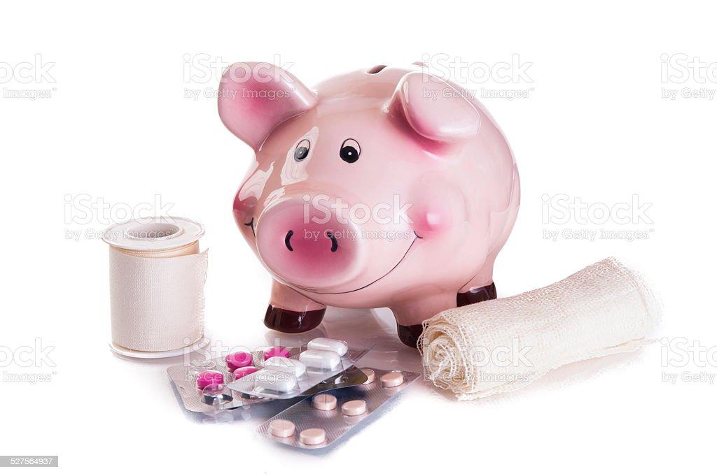 Sick Piggy bank stock photo