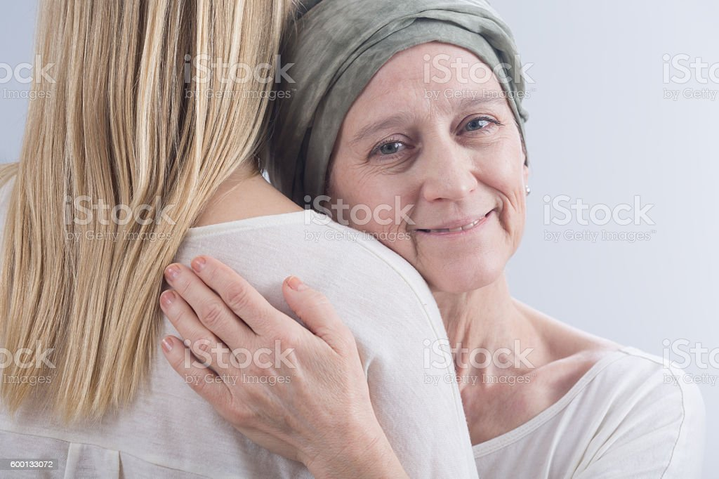 Sick woman and belief in healing stock photo