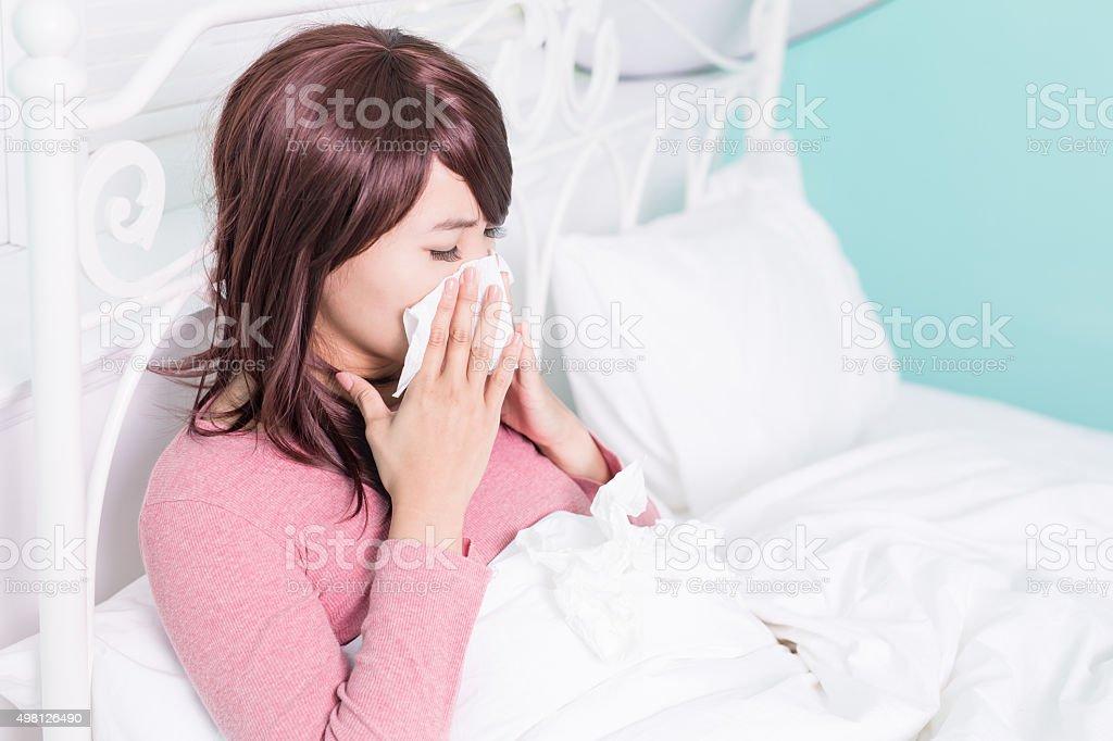 Sick Woman Caught Cold stock photo