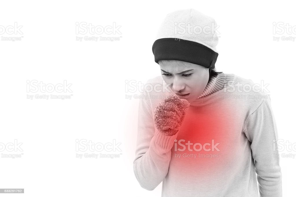 sick woman coughing stock photo