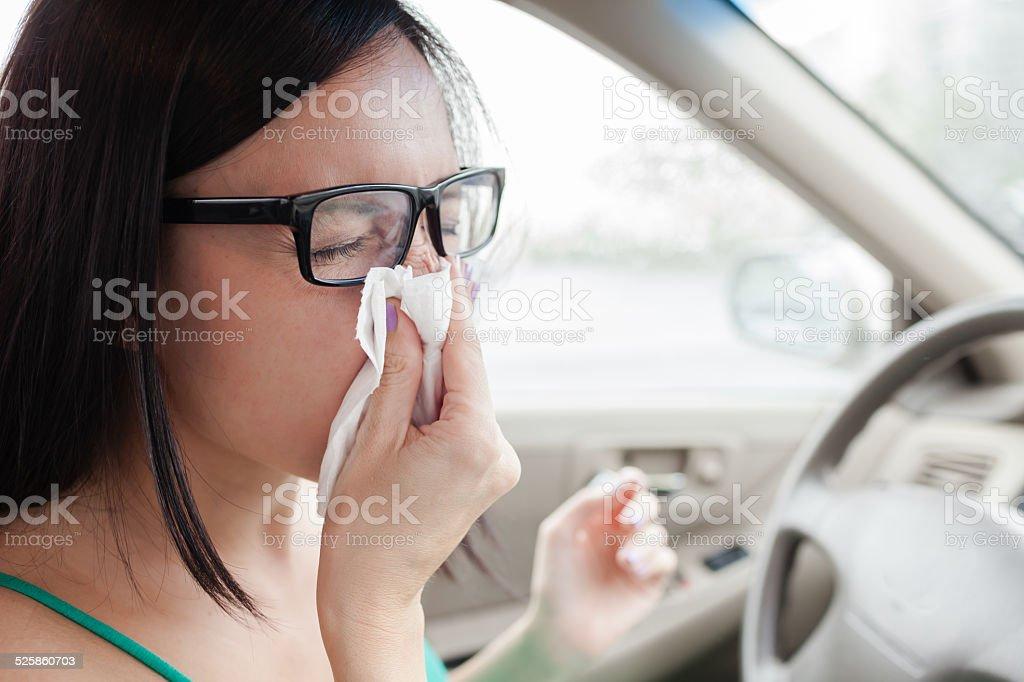 Sick woman driver stock photo