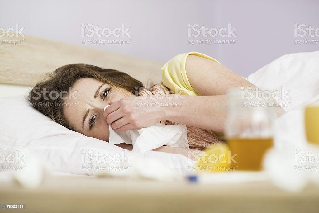 Sick woman stock photo