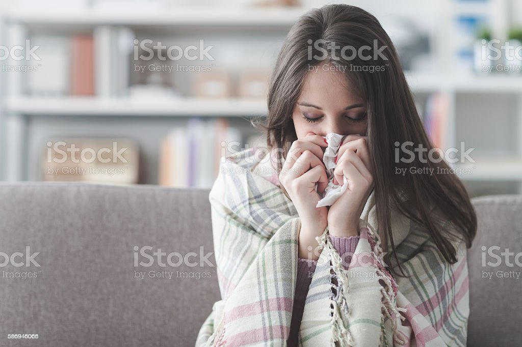 Sick woman with flu stock photo
