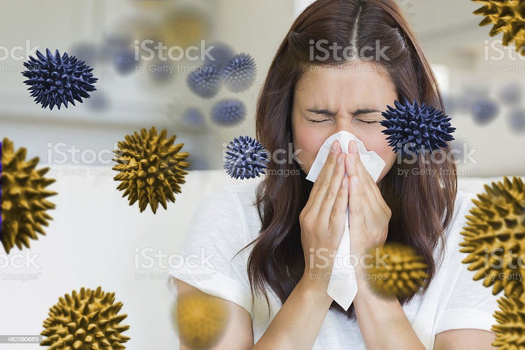 Sick woman with germs flying around her stock photo