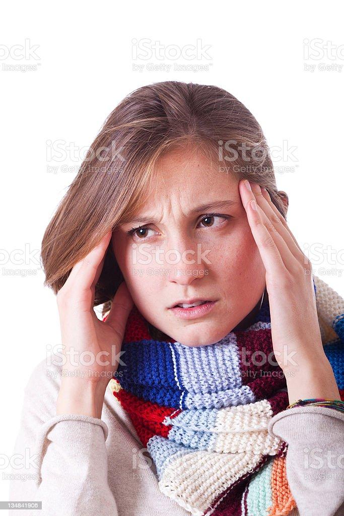 Sick Woman with Headache royalty-free stock photo