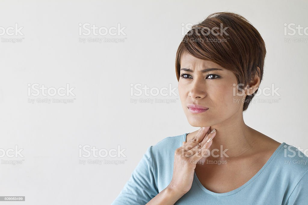 sick woman with sore throat, inflammation stock photo
