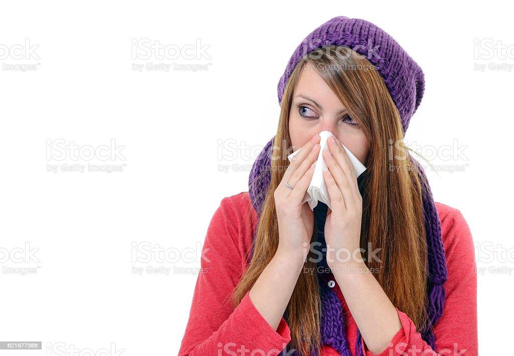 Sick Woman.Flu.Woman Caught Cold. Sneezing into handkerchief. He stock photo