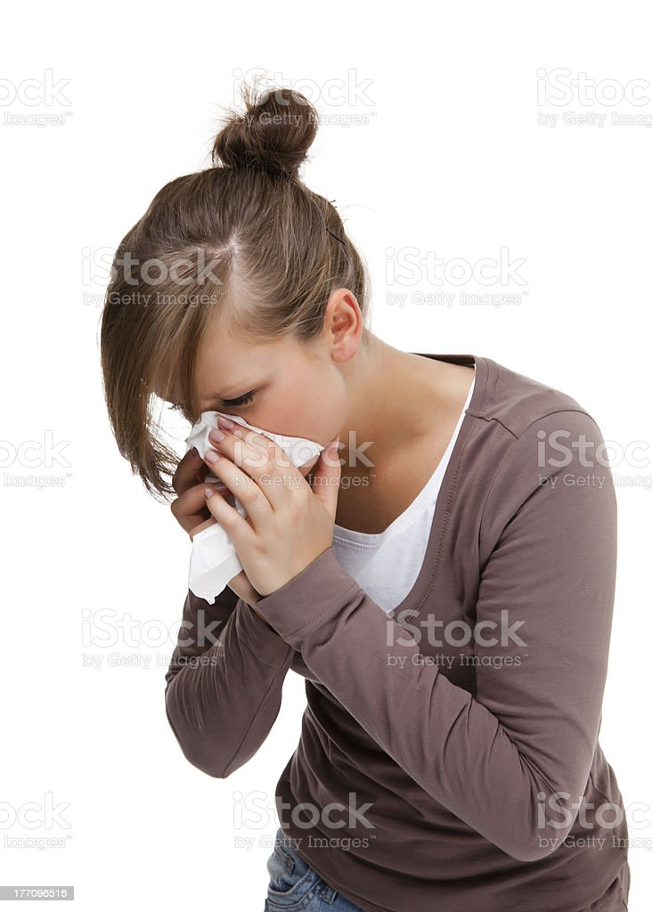 Sick young woman isolated on white background royalty-free stock photo