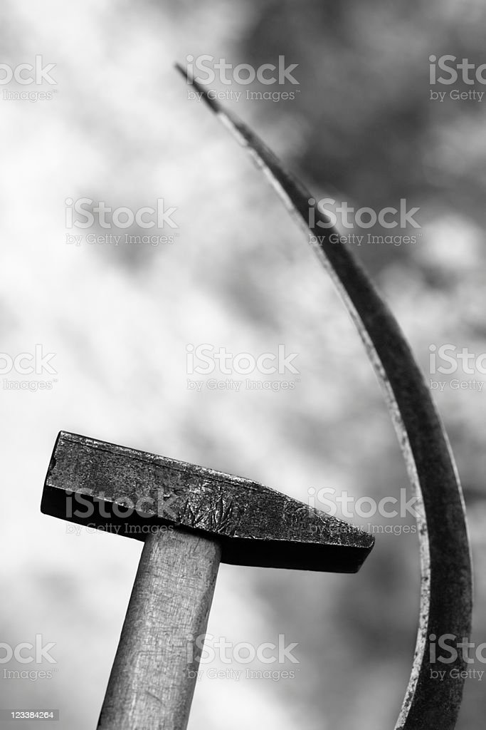 Sickle and hammer stock photo