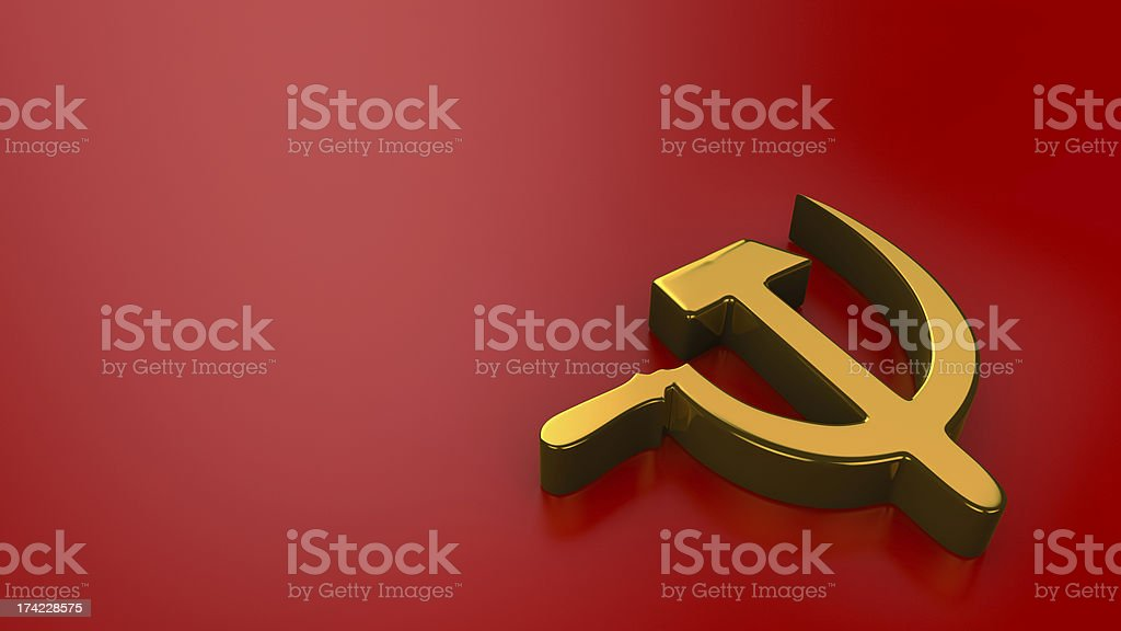 Sickle & Hammer on red royalty-free stock photo