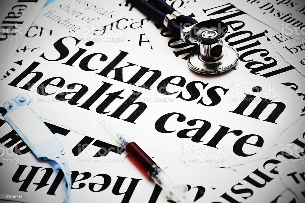 Sickness in health care say headlines with medical equipment alongside royalty-free stock photo
