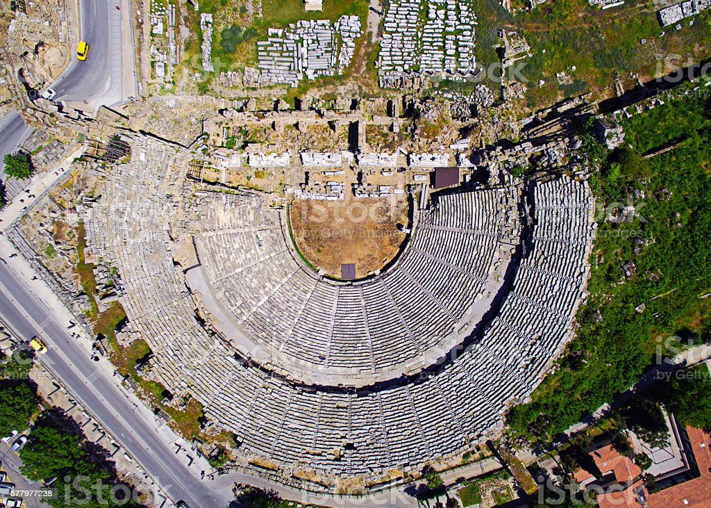 Side Ancient Theatre, Turkey stock photo