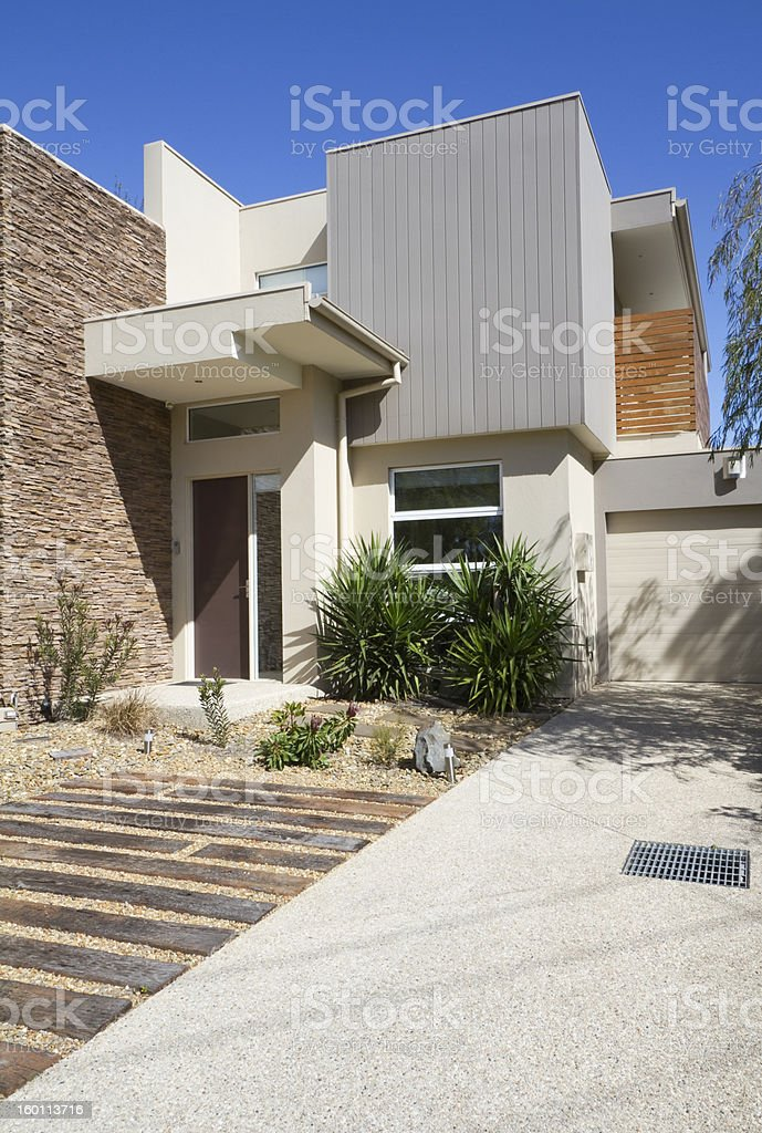 Side angle of a contemporary designer townhouse royalty-free stock photo