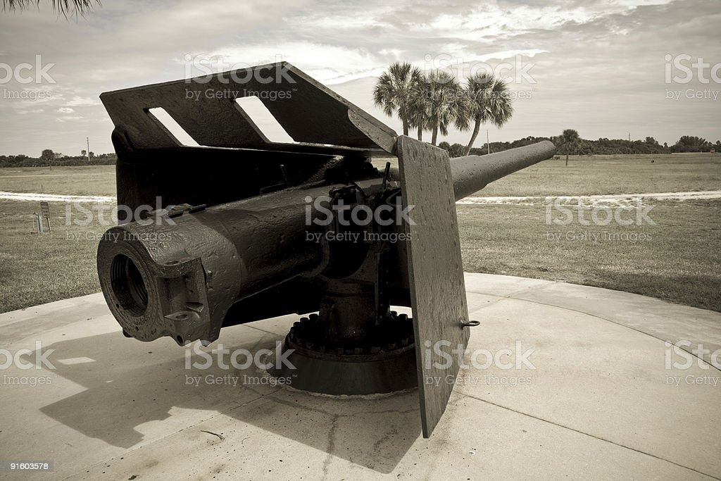 Side angled view of an armored rifle stock photo