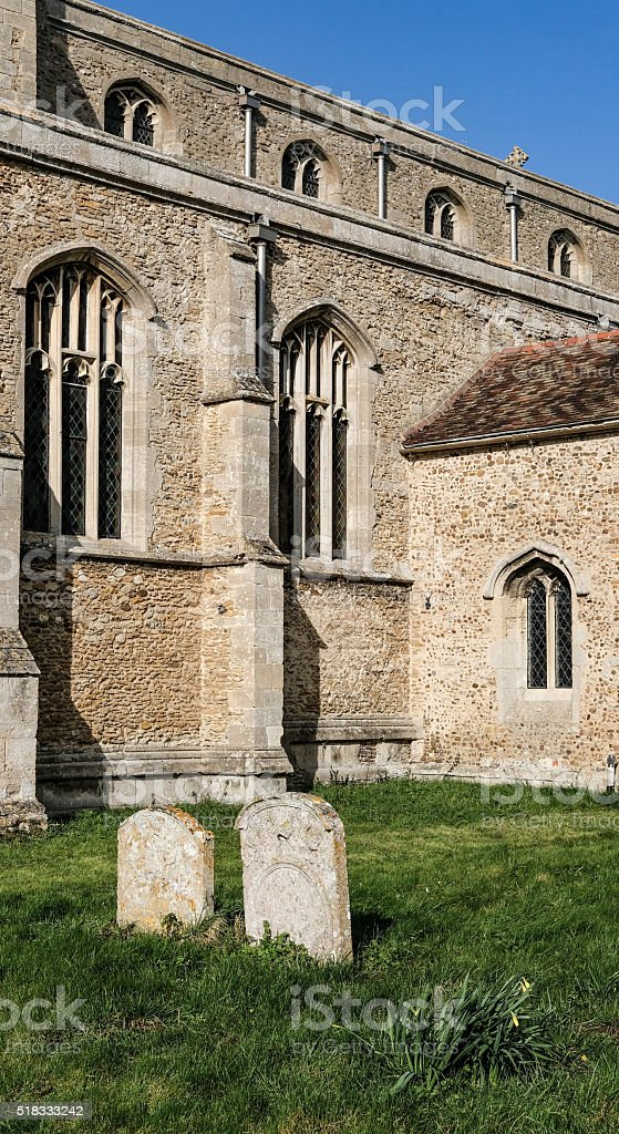 Side aspect view of a typical English Church stock photo