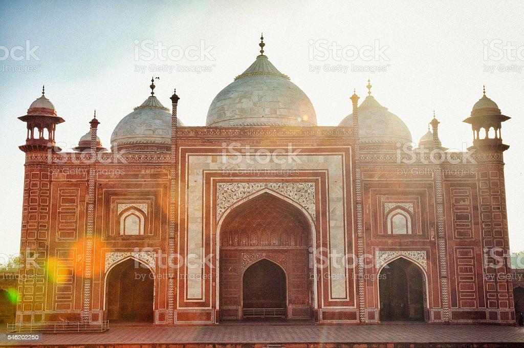 Side building of the Taj Mahal stock photo