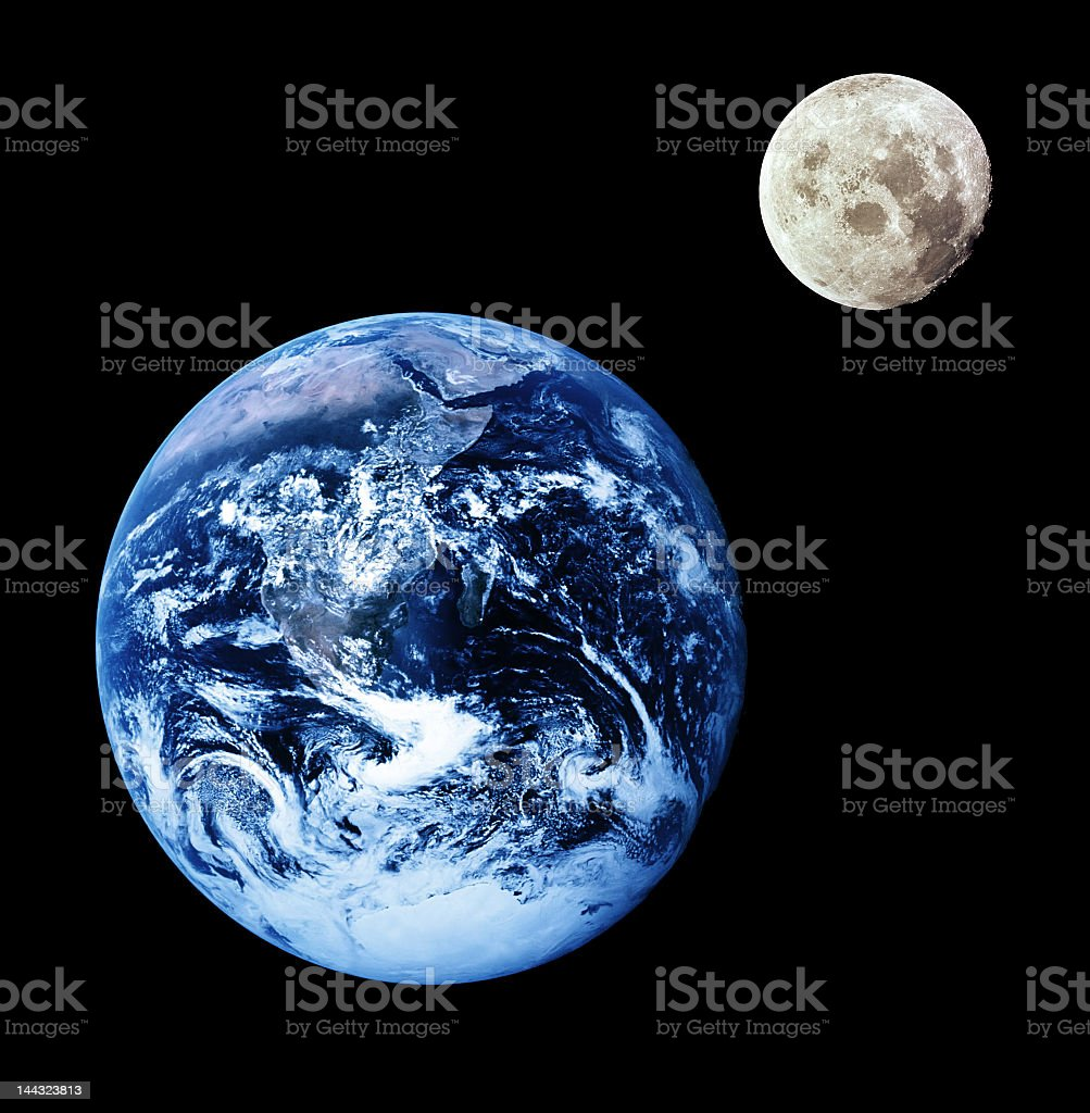 Side by side Earth and moon size comparison stock photo