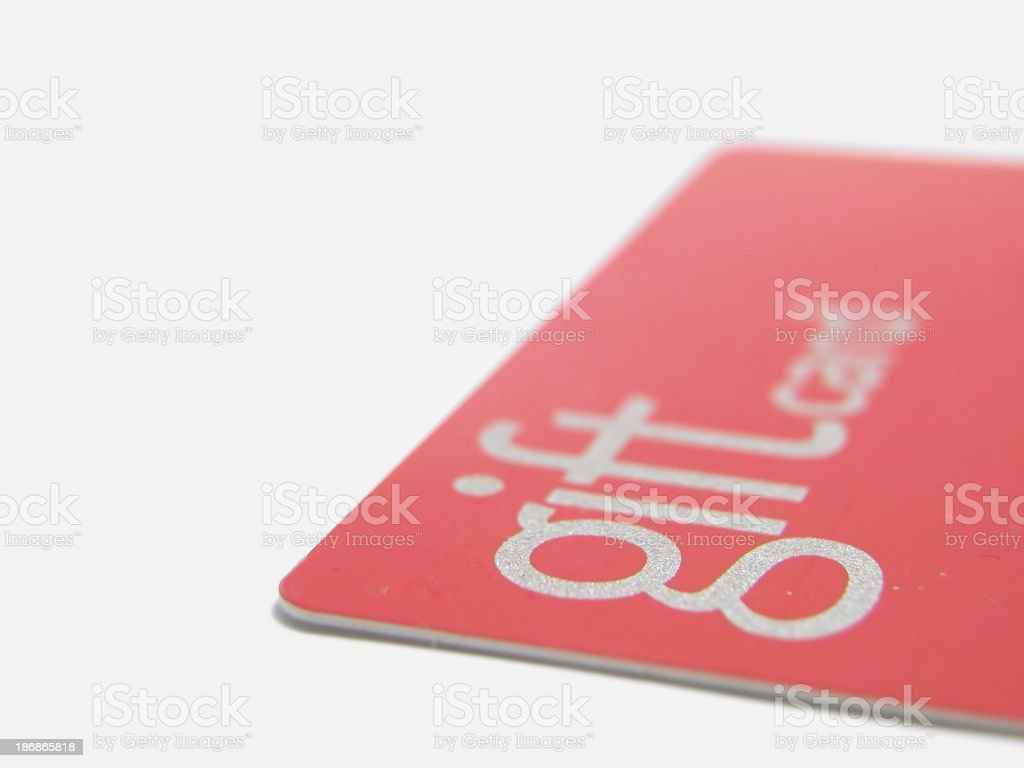 Side close-up view of a red gift card stock photo