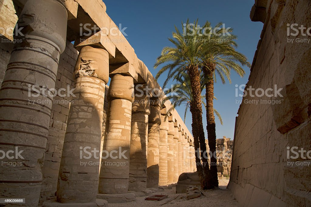 Side Colonnade, Inner Courtyard, Karnak Temple, Luxor, Egypt stock photo