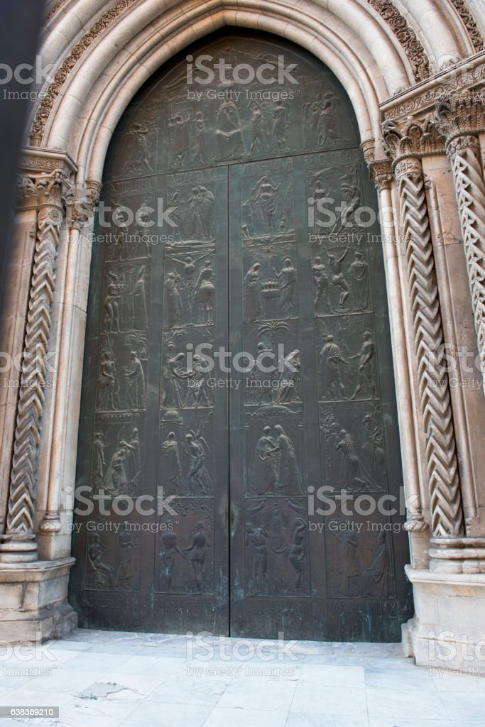 Side doors to Palermo Cathedral stock photo