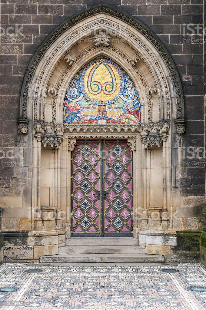 Side entrance of Vysehrad cathedral stock photo