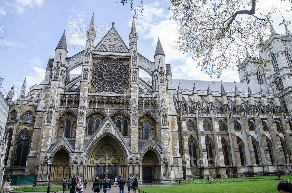 Side entrance of Westminster Abbey stock photo