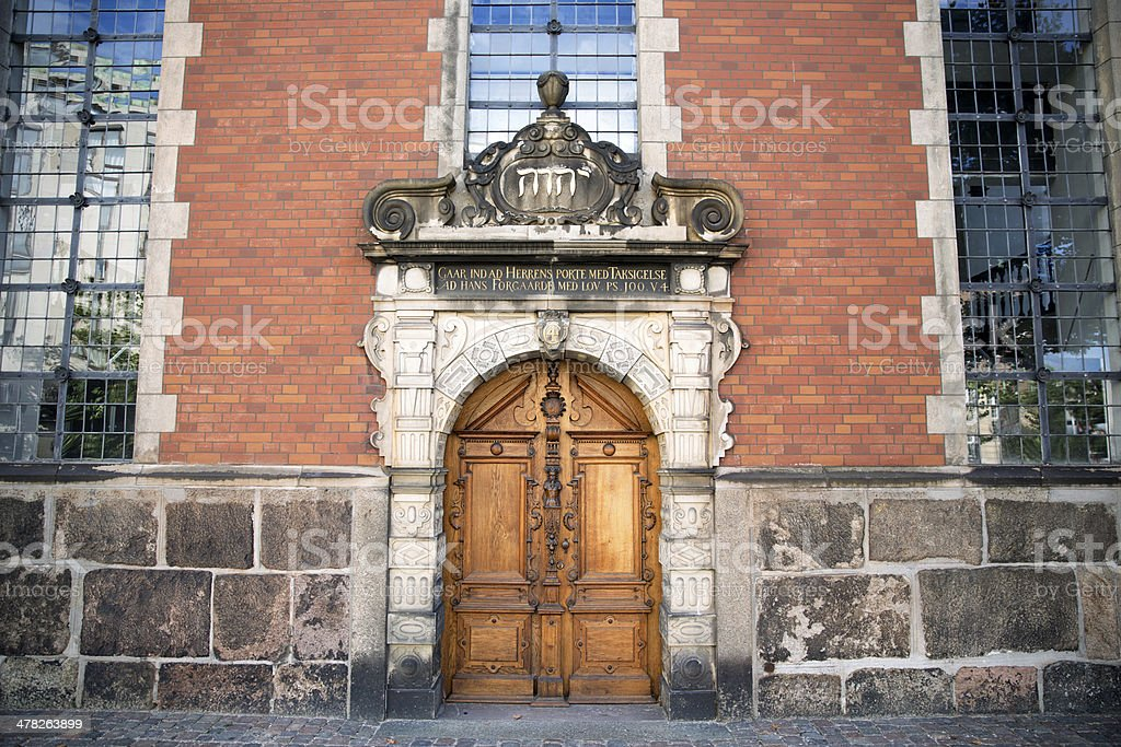 Side entrance to Holmens Kirke - the Naval Church stock photo
