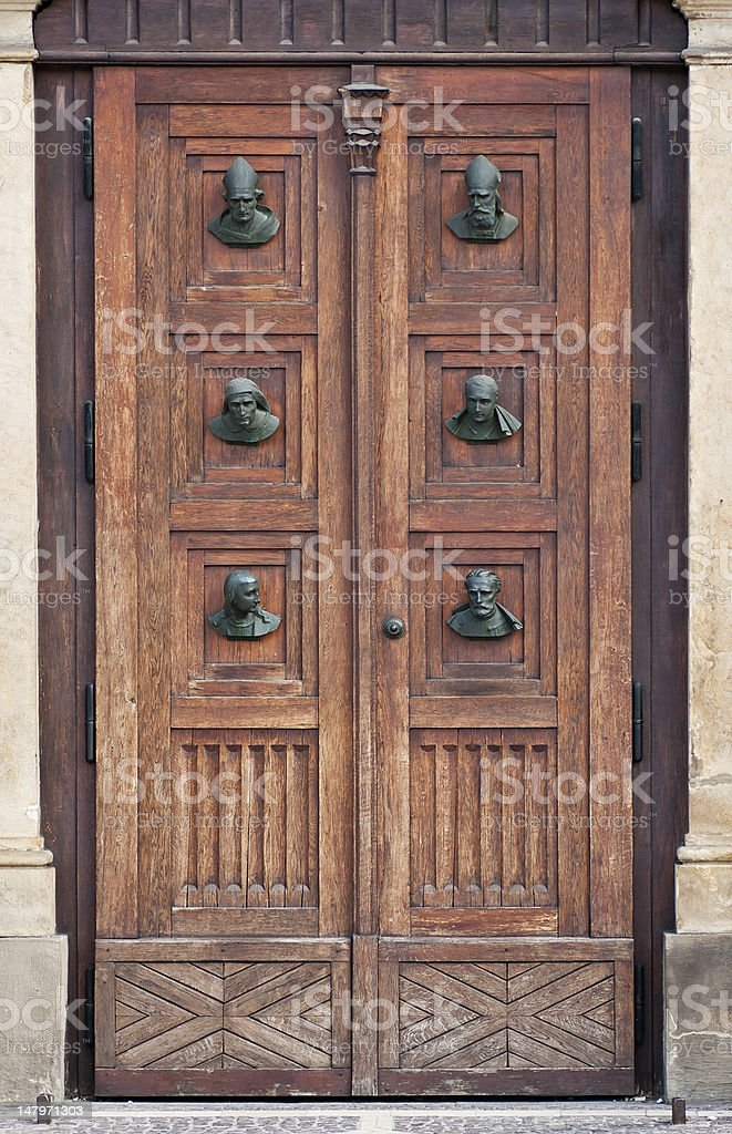 Side entrance to the St. Mary's Basilica in Krakow, Poland royalty-free stock photo