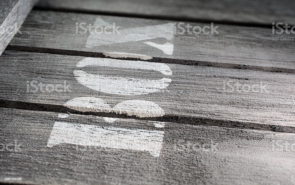 Side Macro Of Wood Panels With A BOX Logo stock photo