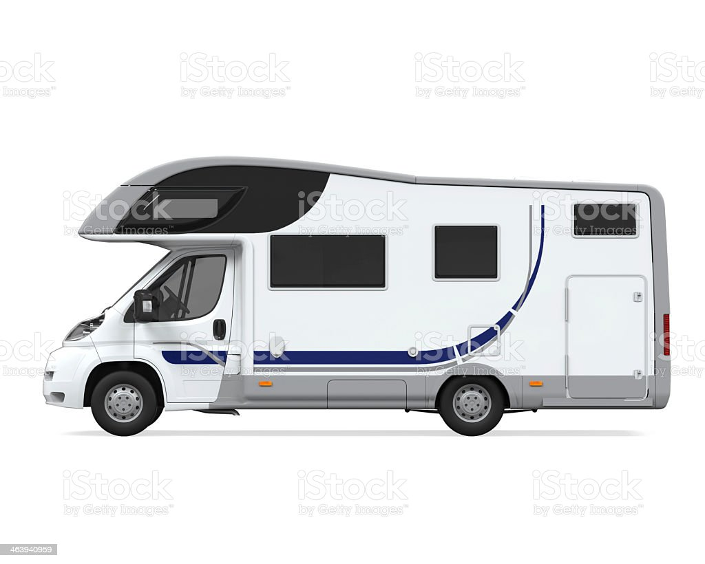 Side of a camper van against white background royalty-free stock photo