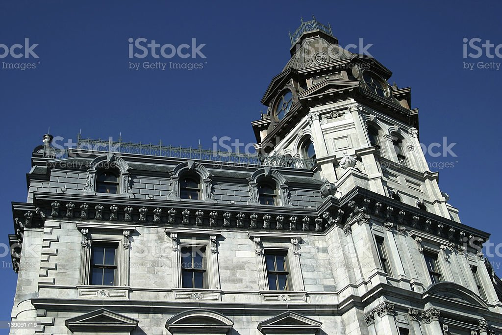 Side of a historical builing in old Montreal royalty-free stock photo