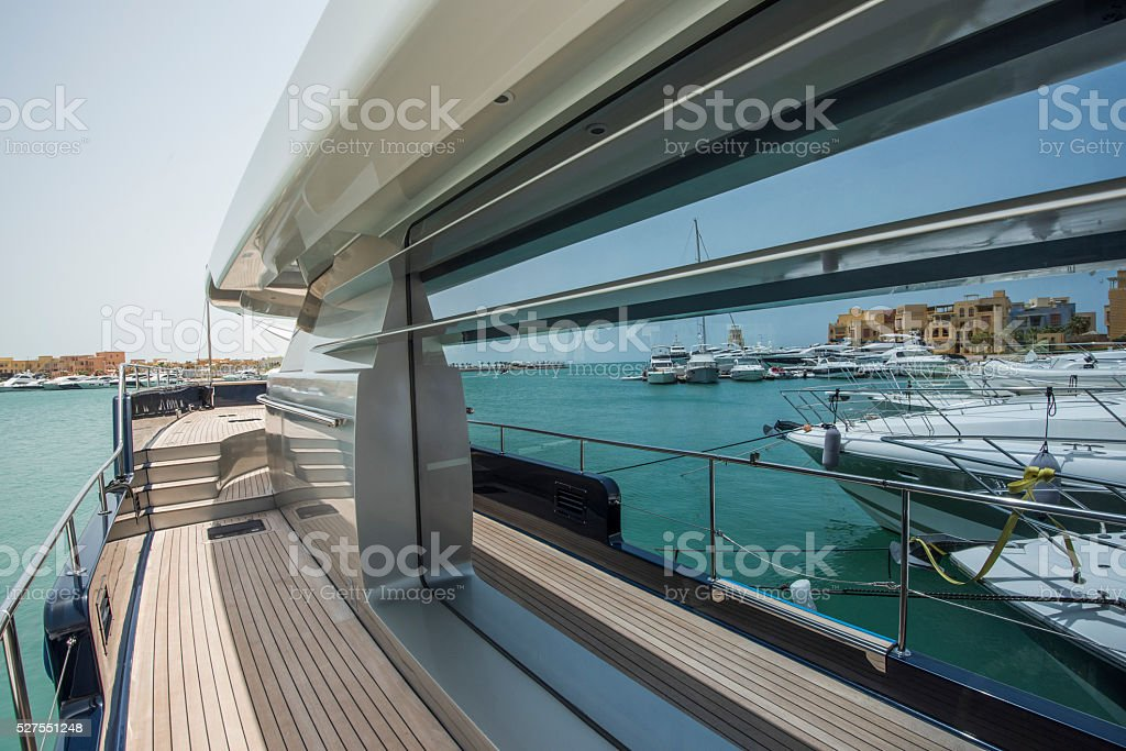 Side of a luxury yacht with panorama window stock photo