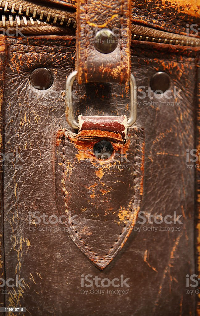 Side of a old leather bag royalty-free stock photo