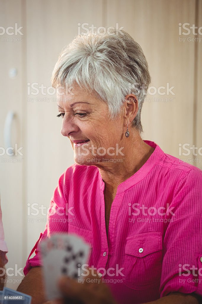 Side of a senior woman stock photo