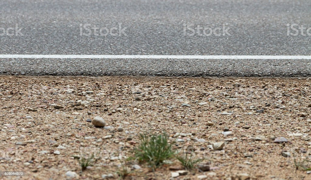 Side of country road. stock photo