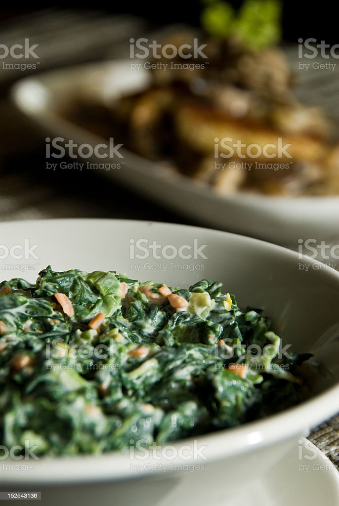 Side of creamed spinach royalty-free stock photo