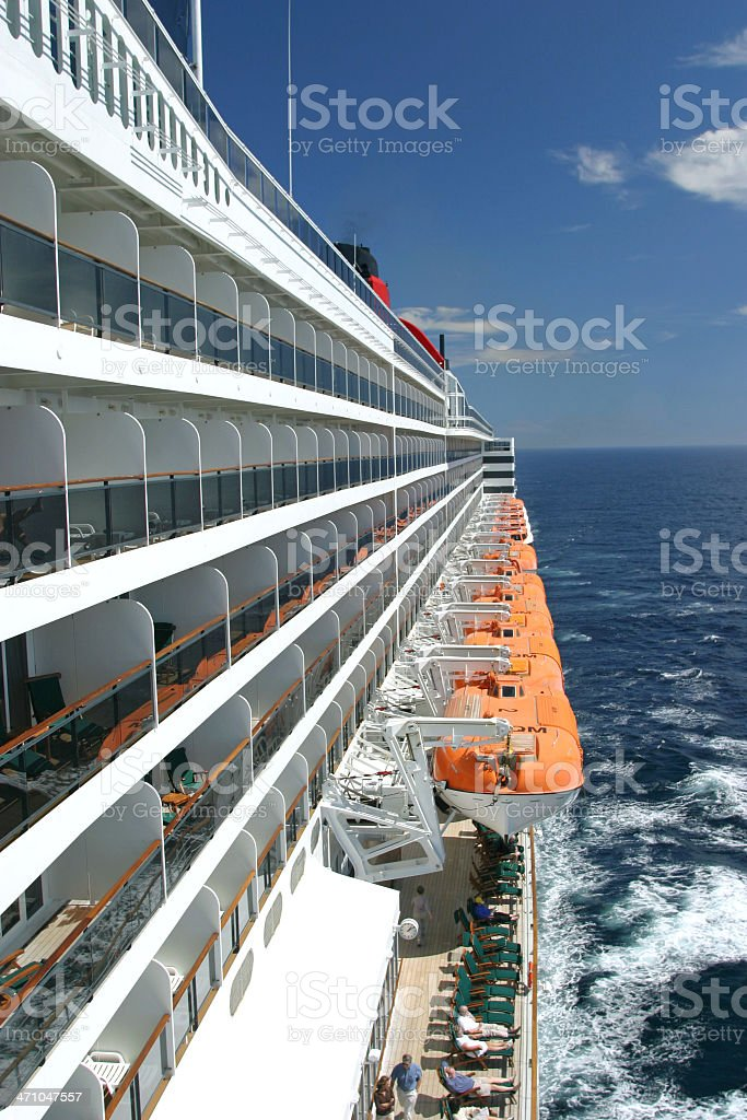 Side Of Cruise Ship At Sea stock photo