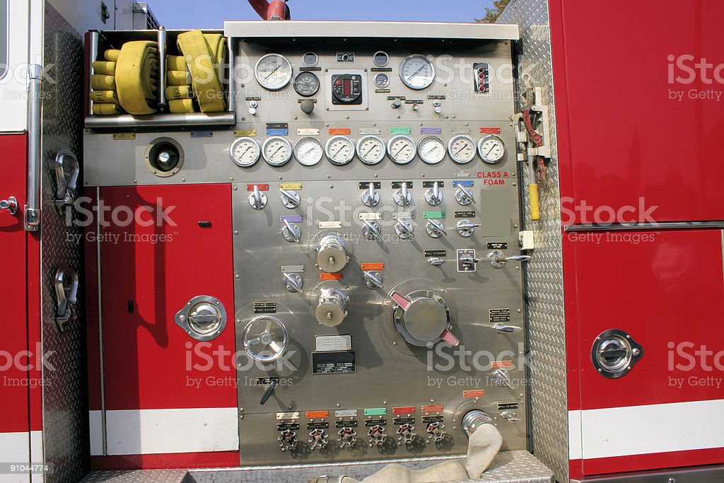side of fire truck stock photo