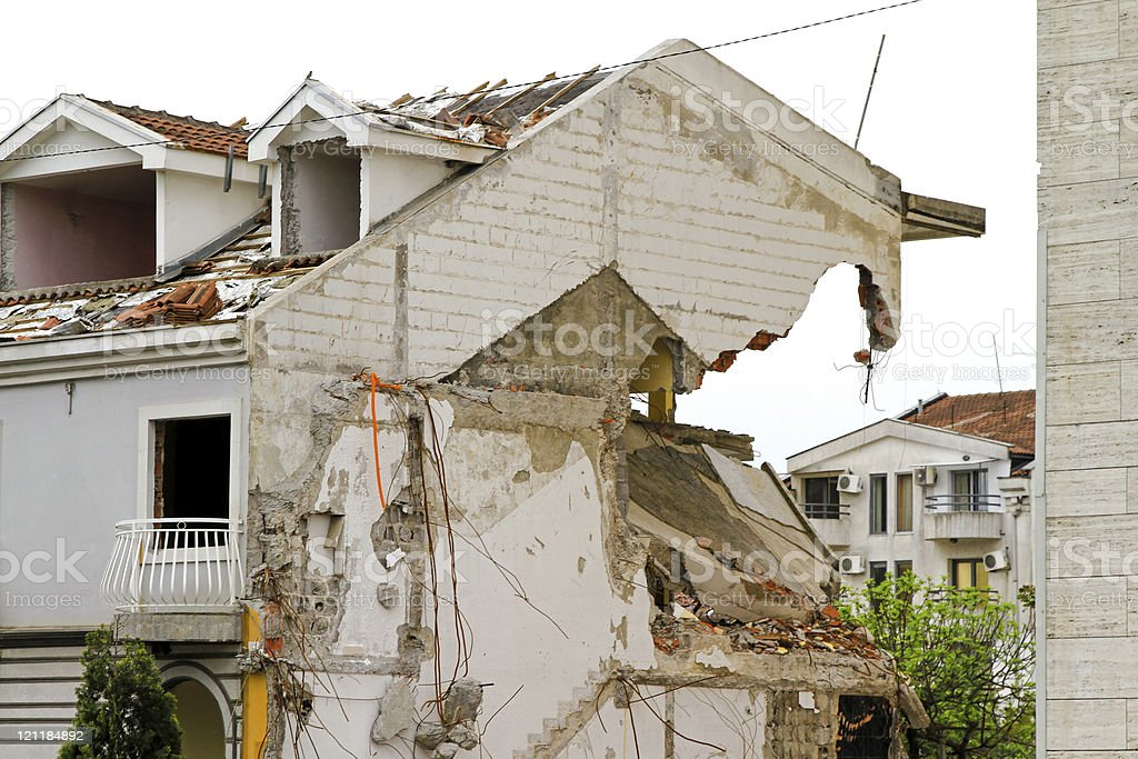 Side of house collapsing after earthquake royalty-free stock photo